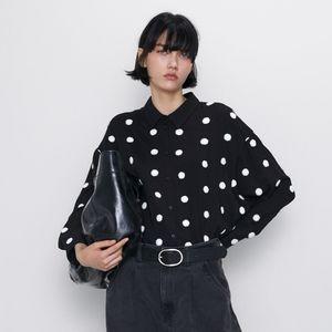 NWT Zara Polka Dot Embroidery Blouse Black